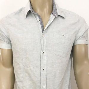 Ted Baker linen blend button down shirt size 5